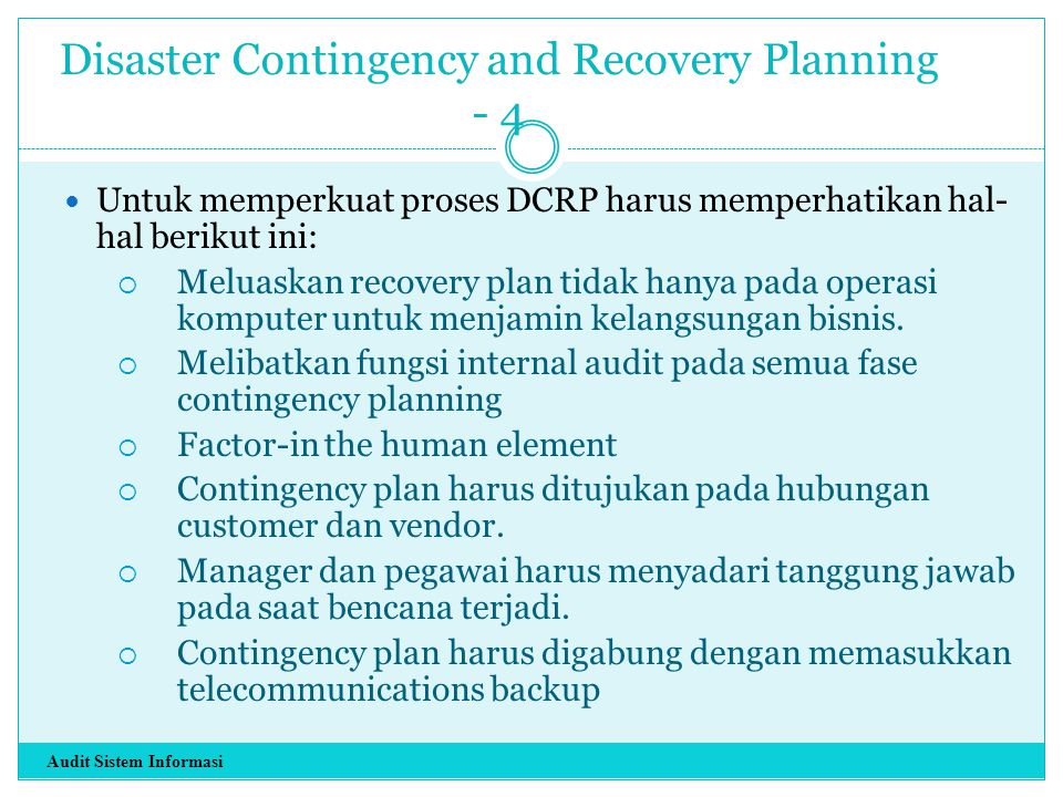 Disaster Contingency and Recovery Planning - 4