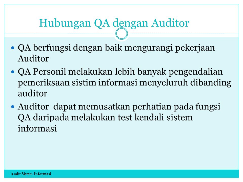 Hubungan QA dengan Auditor
