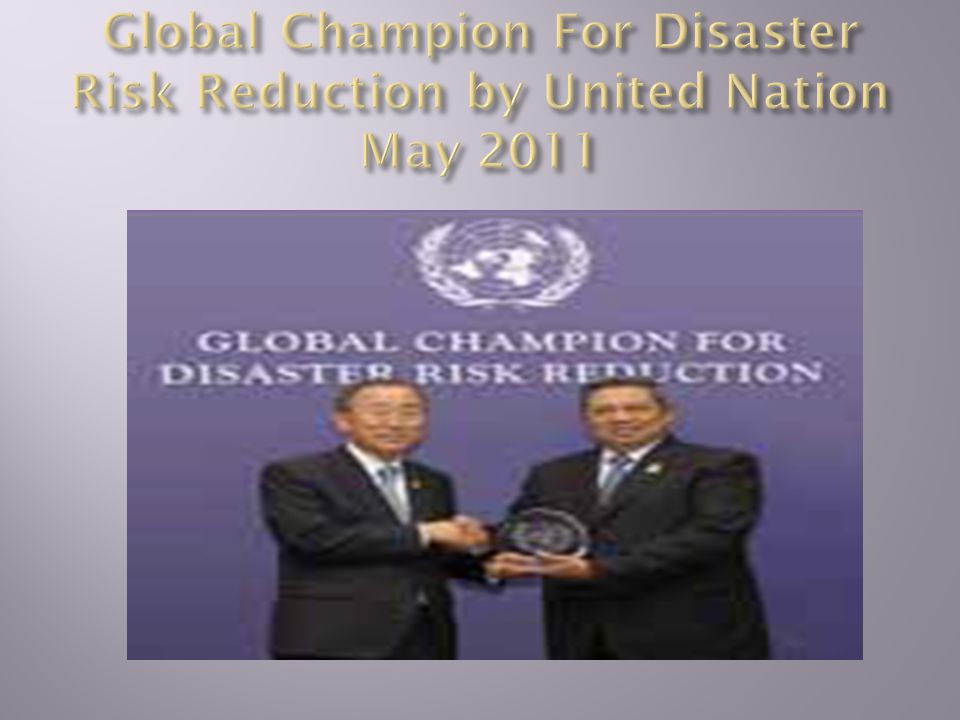Global Champion For Disaster Risk Reduction by United Nation May 2011
