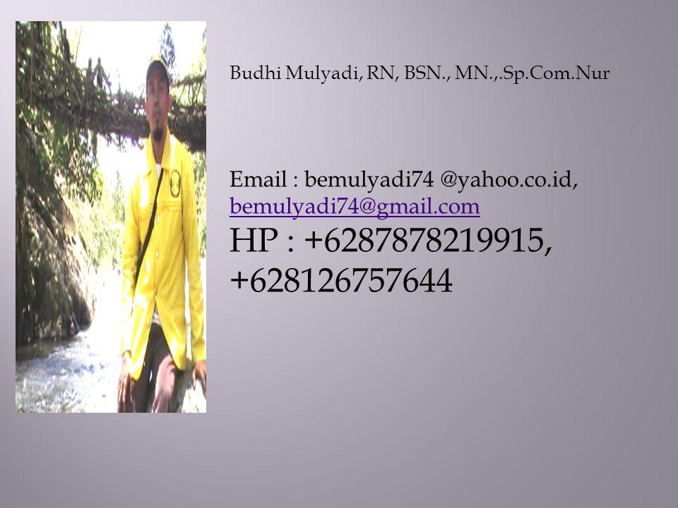 Budhi Mulyadi, RN, BSN., MN.,.Sp.Com.Nur
