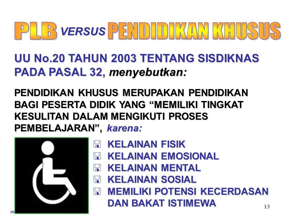 PLB PENDIDIKAN KHUSUS UU No.20 TAHUN 2003 TENTANG SISDIKNAS