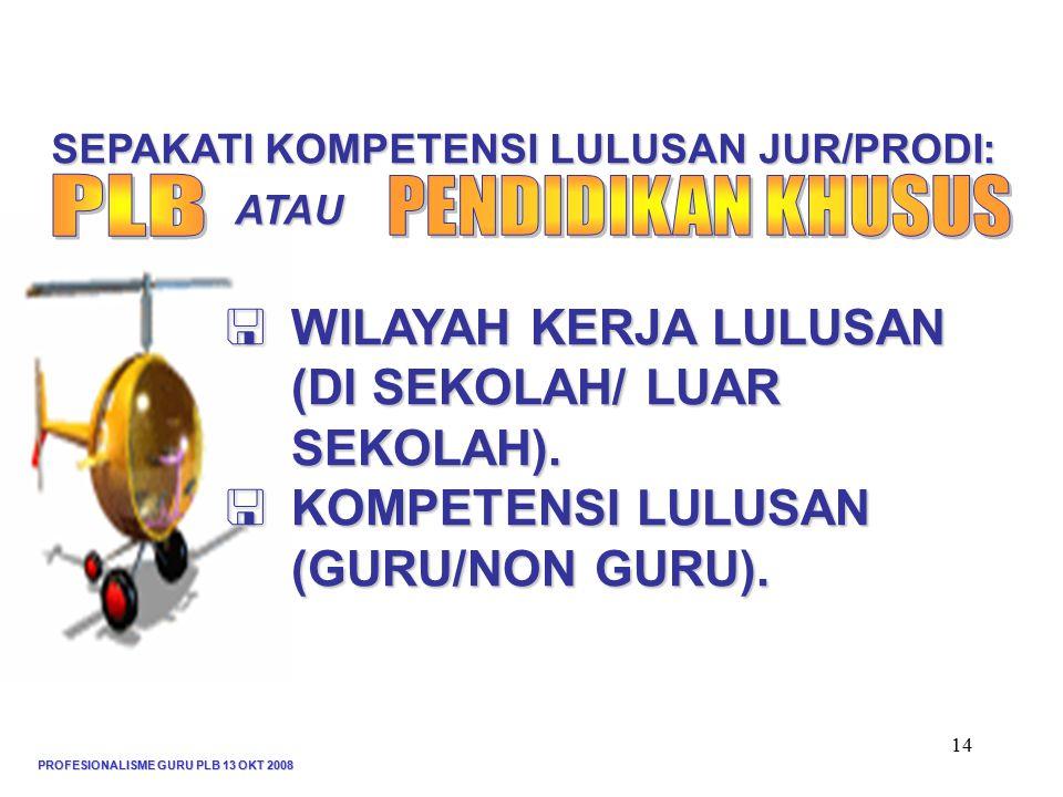 SEPAKATI KOMPETENSI LULUSAN JUR/PRODI: