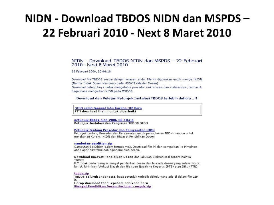 NIDN - Download TBDOS NIDN dan MSPDS – 22 Februari 2010 - Next 8 Maret 2010