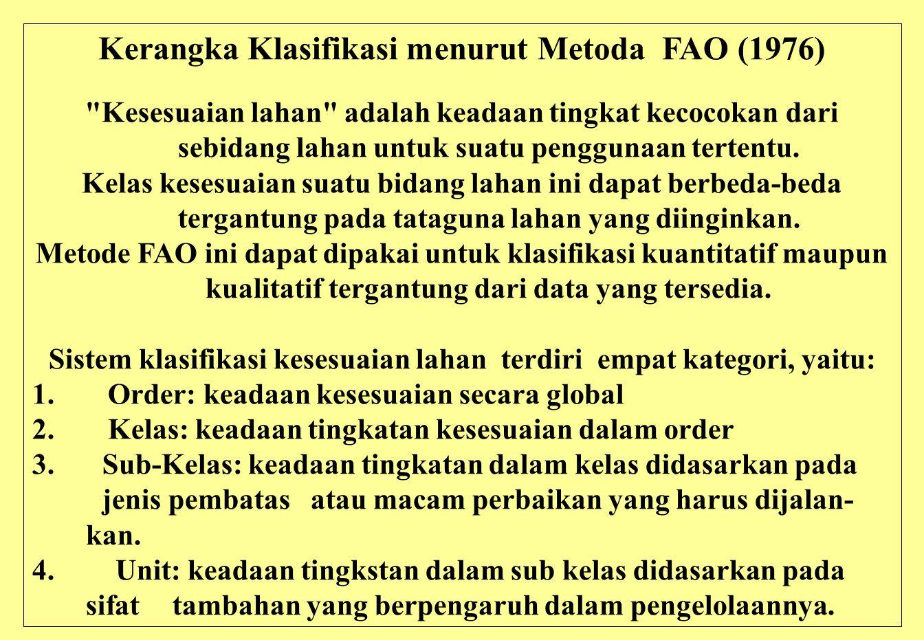 Kerangka Klasifikasi menurut Metoda FAO (1976)