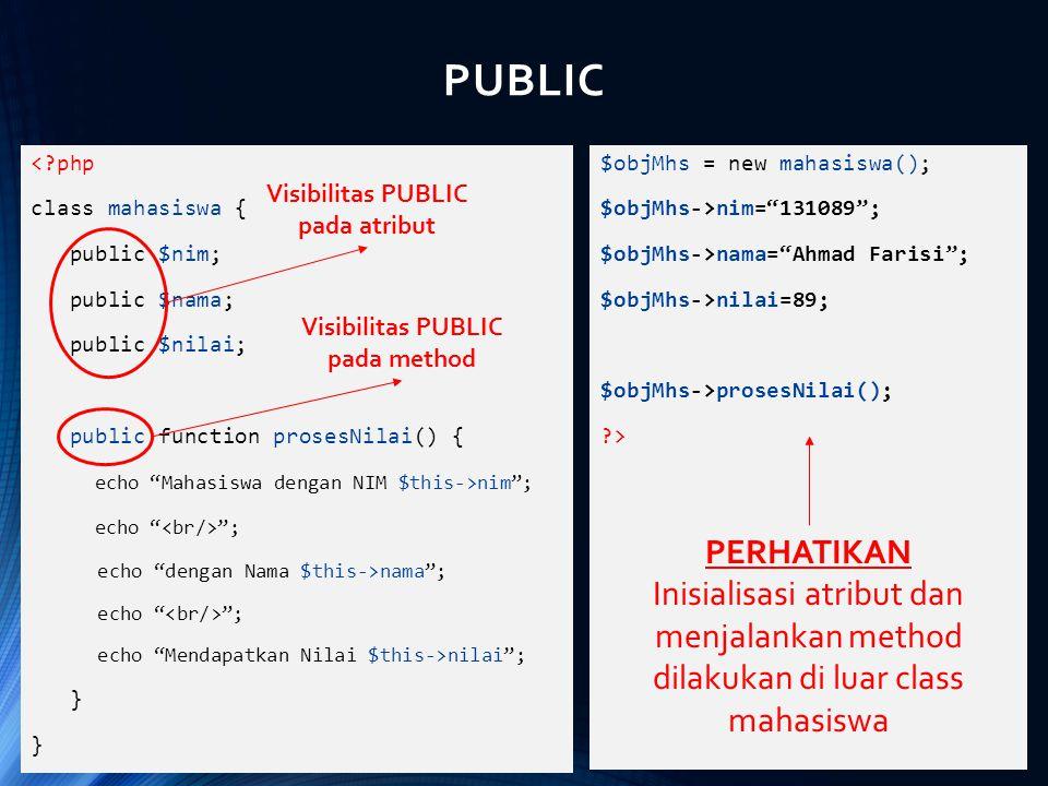 Visibilitas PUBLIC pada atribut Visibilitas PUBLIC pada method