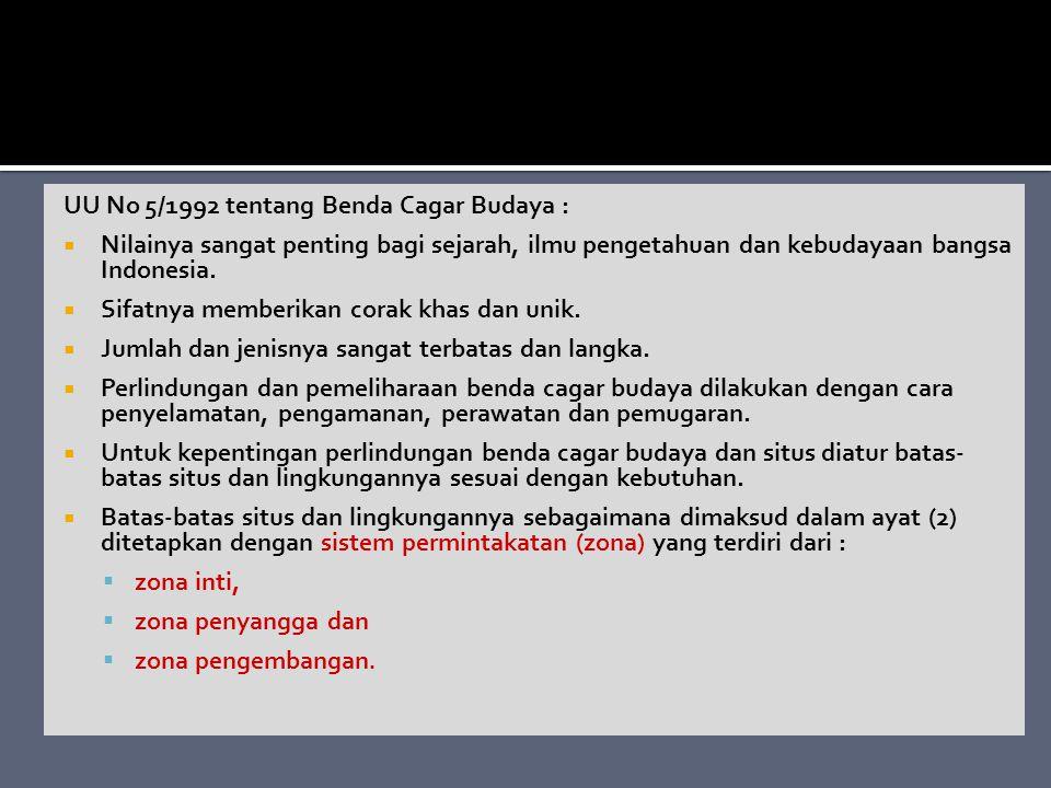 UU No 5/1992 tentang Benda Cagar Budaya :