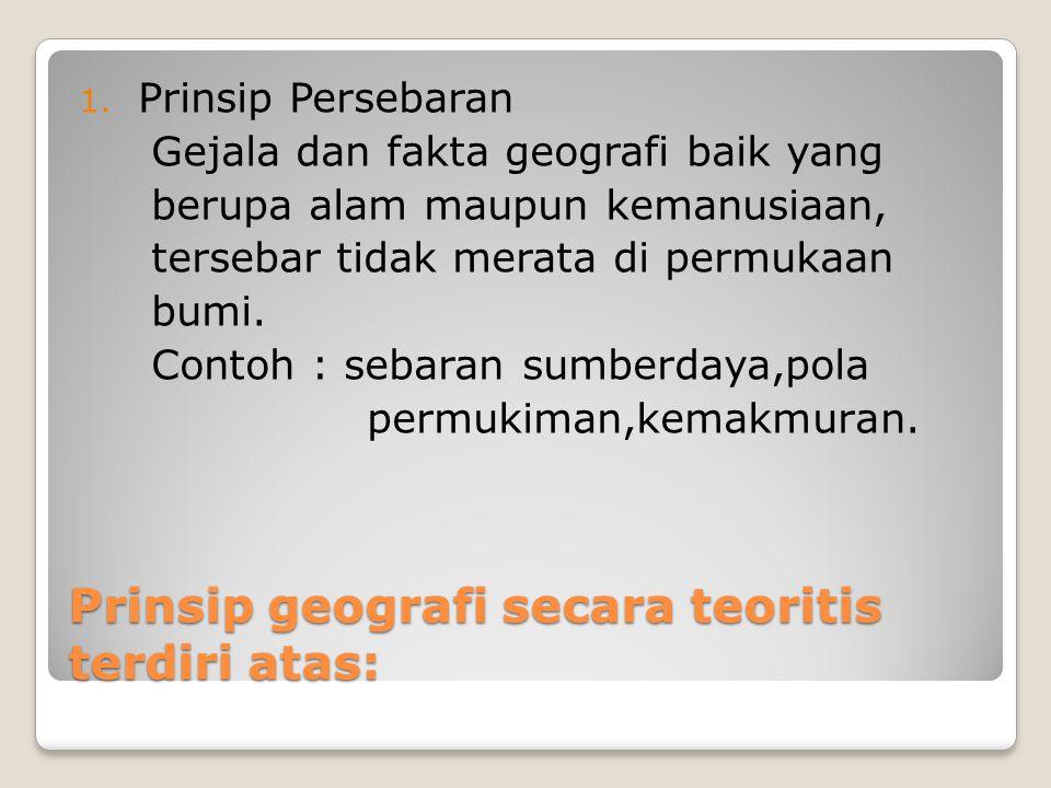 Prinsip geografi secara teoritis terdiri atas: