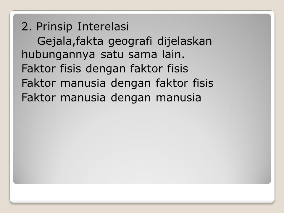 2. Prinsip Interelasi Gejala,fakta geografi dijelaskan hubungannya satu sama lain.