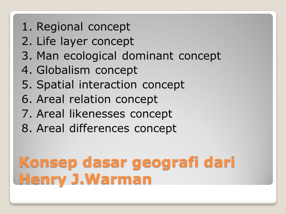 Konsep dasar geografi dari Henry J.Warman