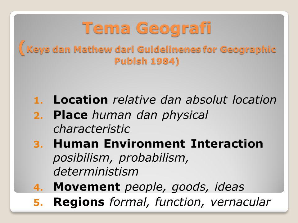 Tema Geografi (Keys dan Mathew dari Guidelinenes for Geographic Publsh 1984)