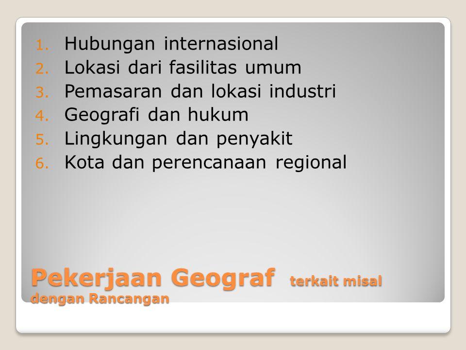 Pekerjaan Geograf terkait misal dengan Rancangan