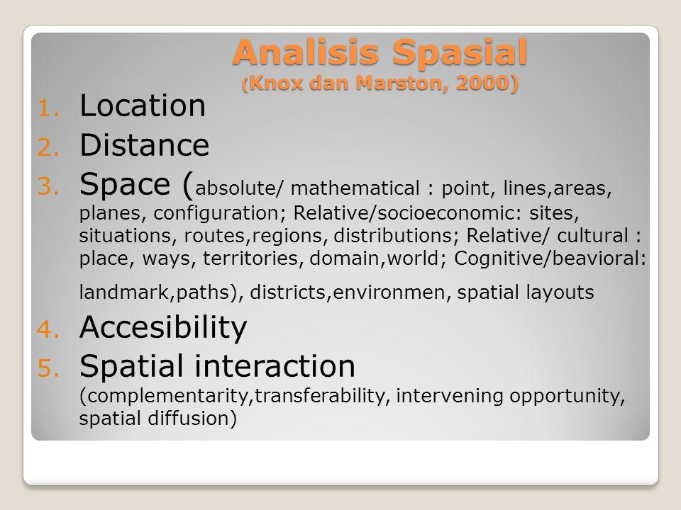 Analisis Spasial (Knox dan Marston, 2000)