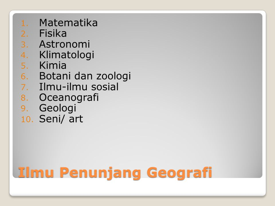 Ilmu Penunjang Geografi