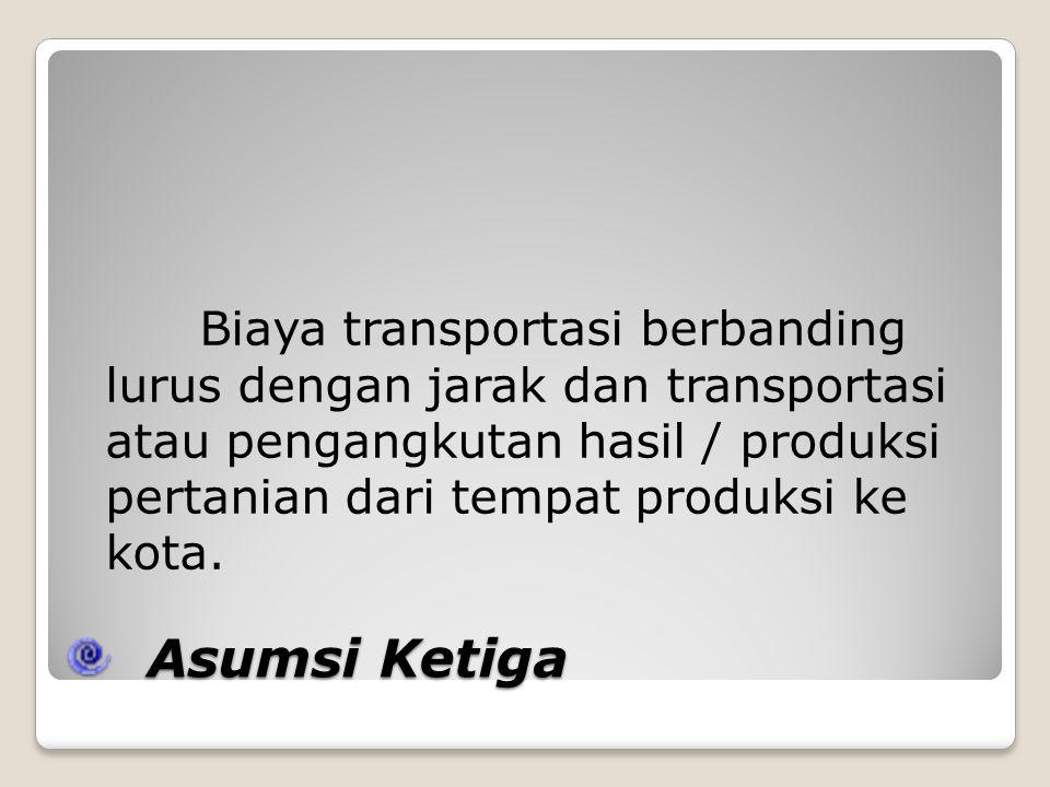 Biaya transportasi berbanding lurus dengan jarak dan transportasi atau pengangkutan hasil / produksi pertanian dari tempat produksi ke kota.