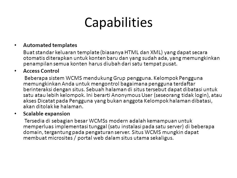 Capabilities Automated templates