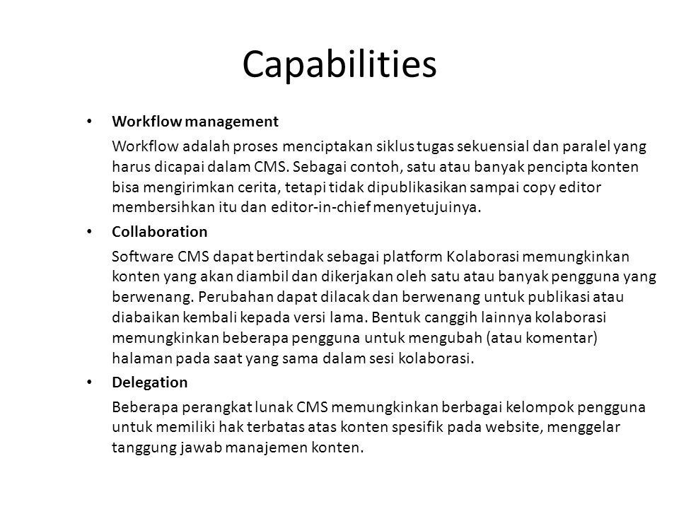Capabilities Workflow management