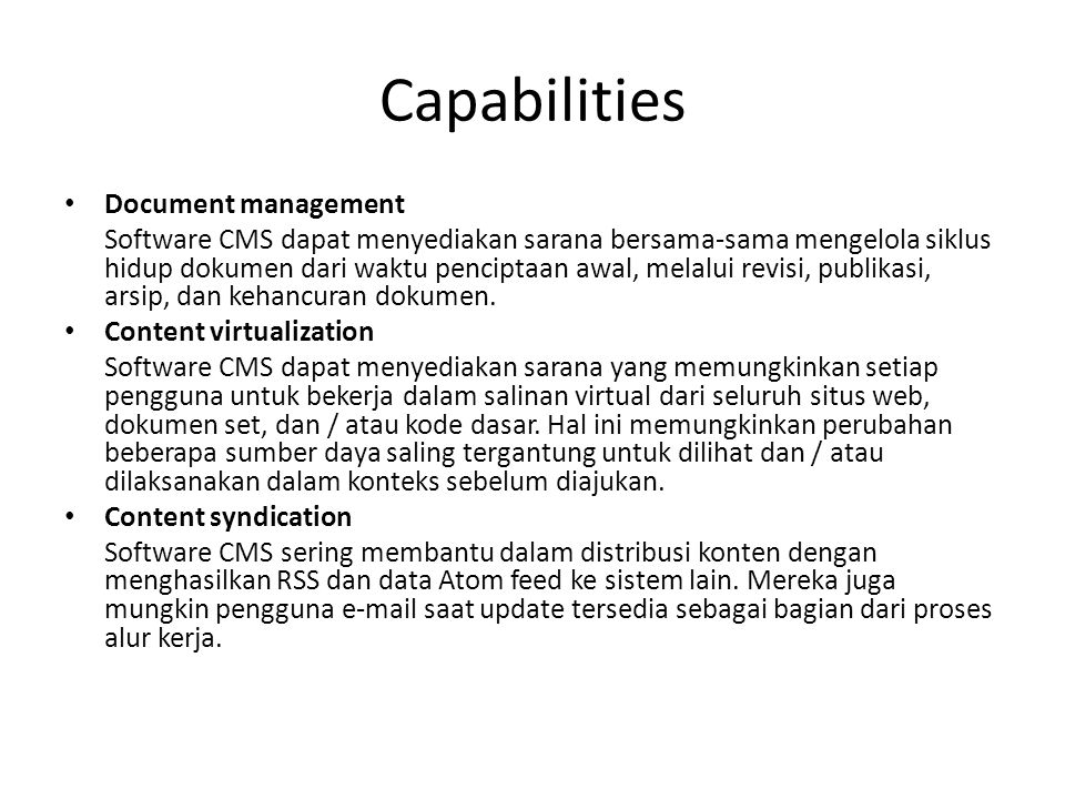 Capabilities Document management