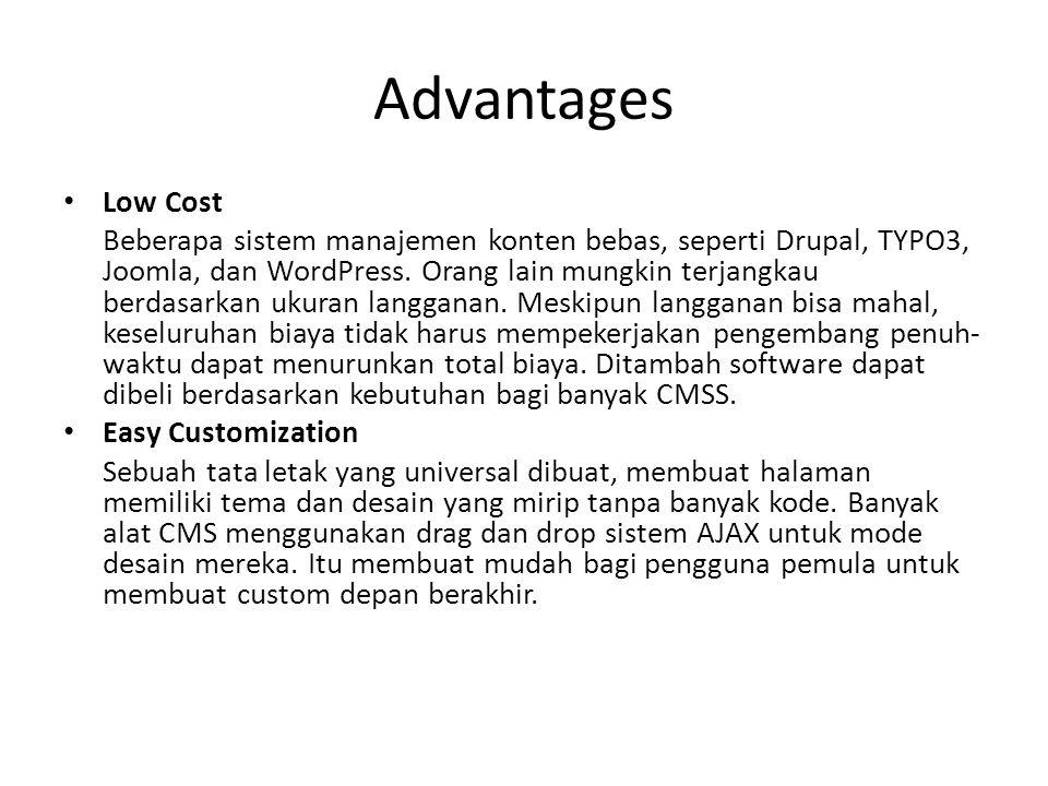 Advantages Low Cost.