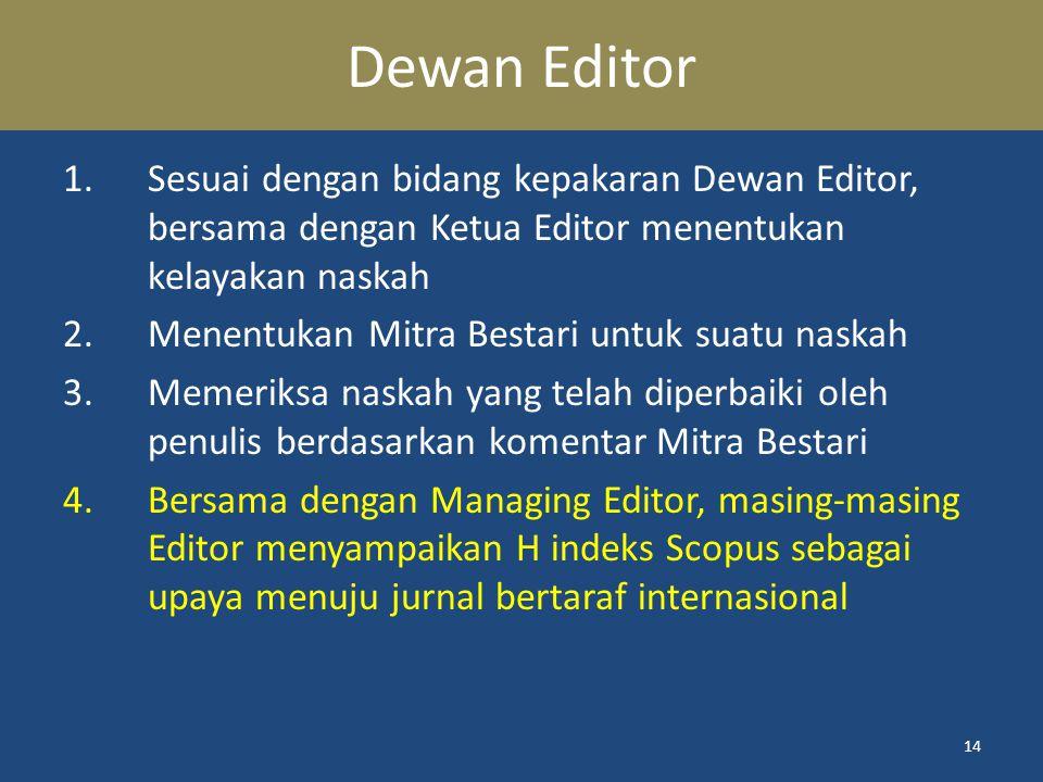 Dewan Editor Sesuai dengan bidang kepakaran Dewan Editor, bersama dengan Ketua Editor menentukan kelayakan naskah.