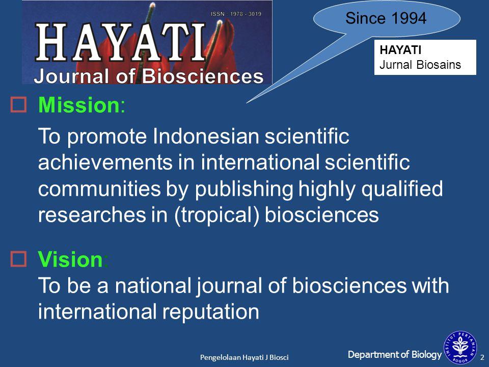 Pengelolaan Hayati J Biosci