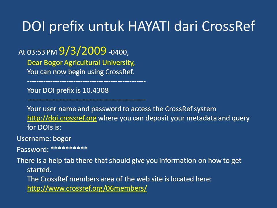 DOI prefix untuk HAYATI dari CrossRef