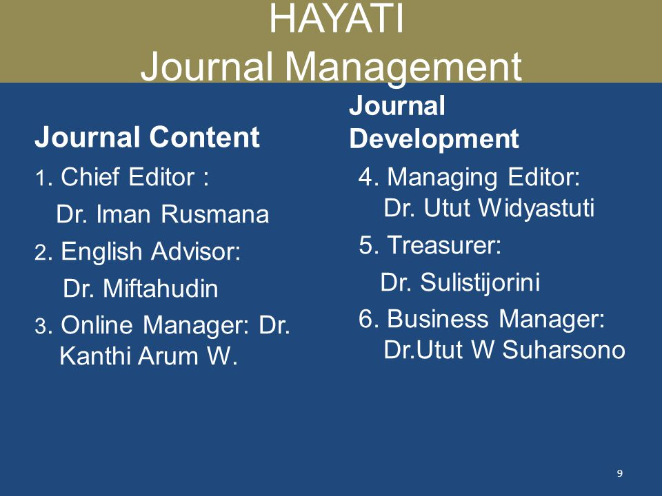 HAYATI Journal Management
