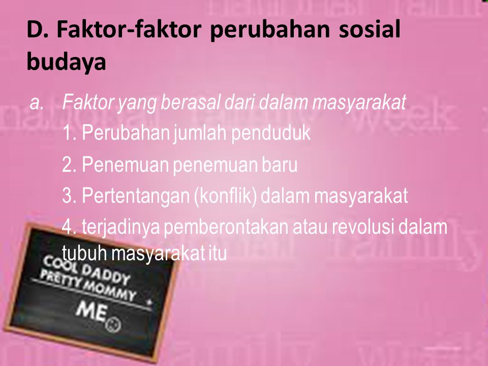 D. Faktor-faktor perubahan sosial budaya