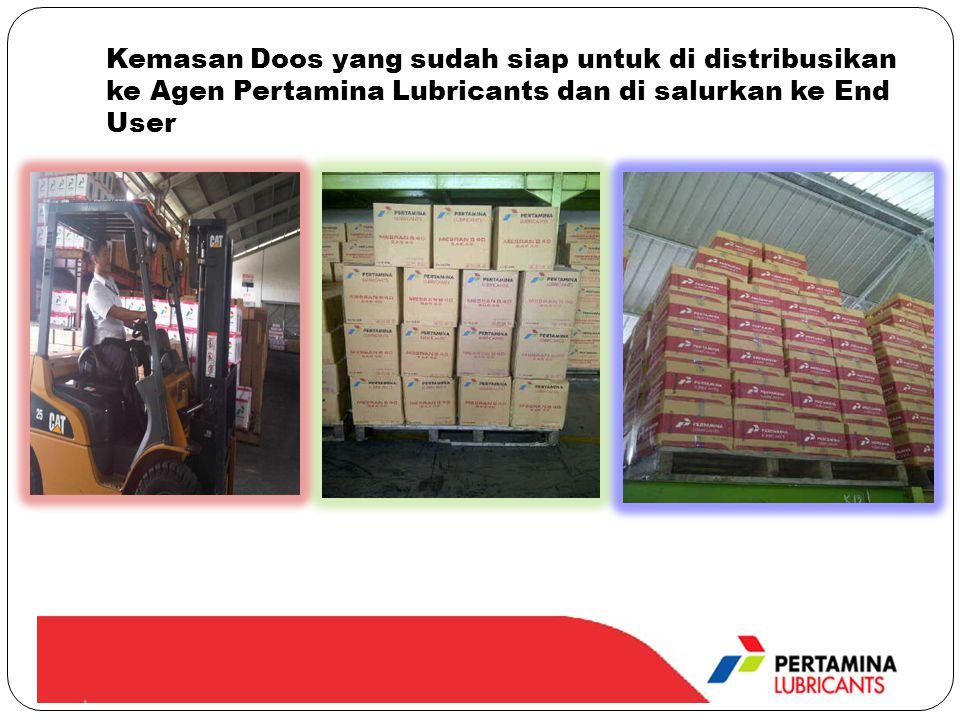 Kemasan Doos yang sudah siap untuk di distribusikan ke Agen Pertamina Lubricants dan di salurkan ke End User