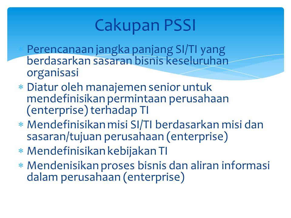 Cakupan PSSI Perencanaan jangka panjang SI/TI yang berdasarkan sasaran bisnis keseluruhan organisasi.