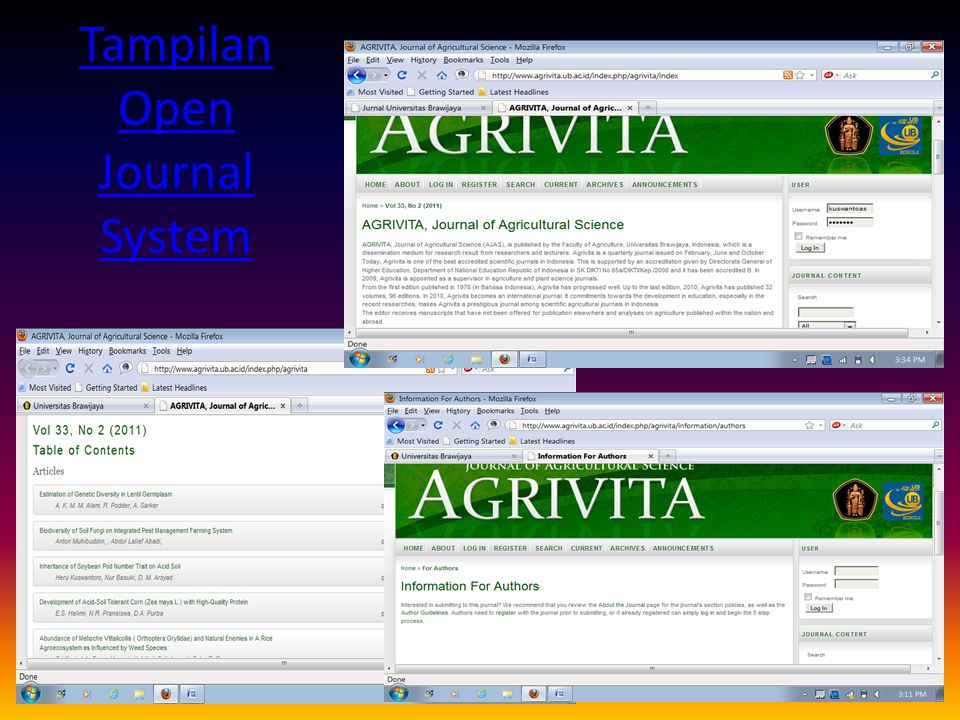 Tampilan Open Journal System