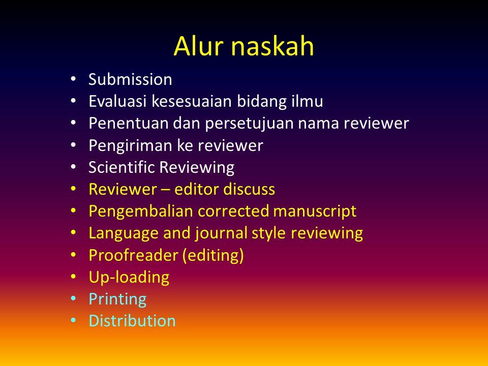 Alur naskah Submission Evaluasi kesesuaian bidang ilmu