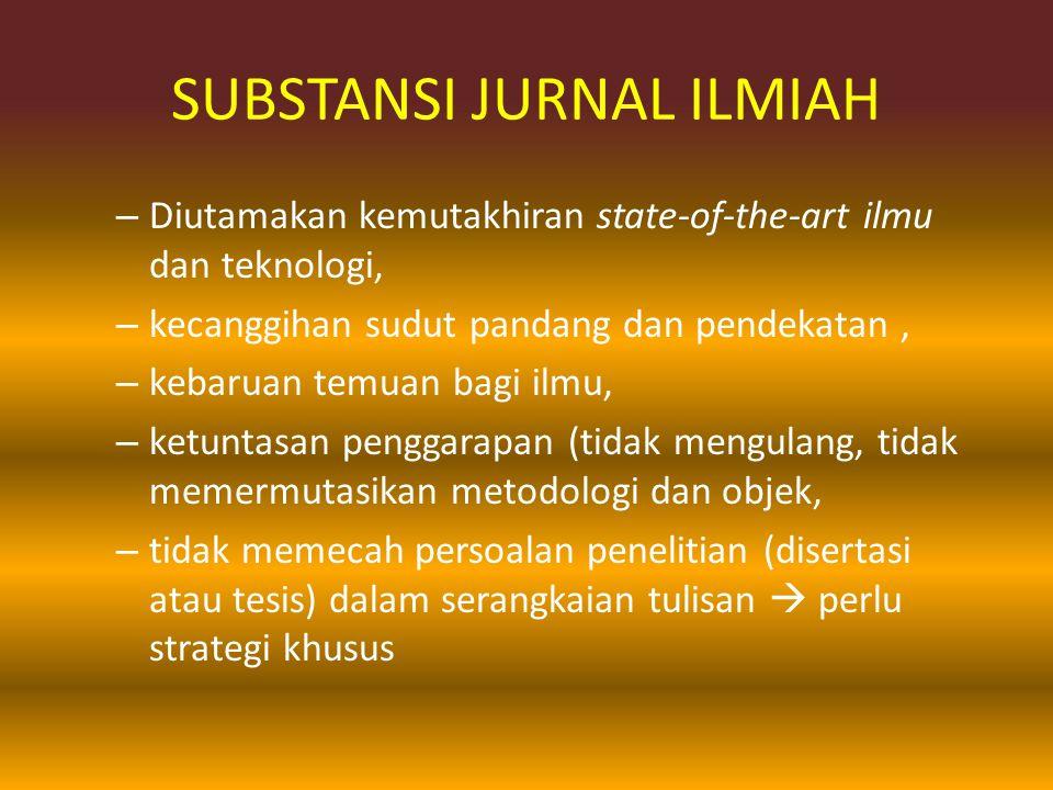 SUBSTANSI JURNAL ILMIAH