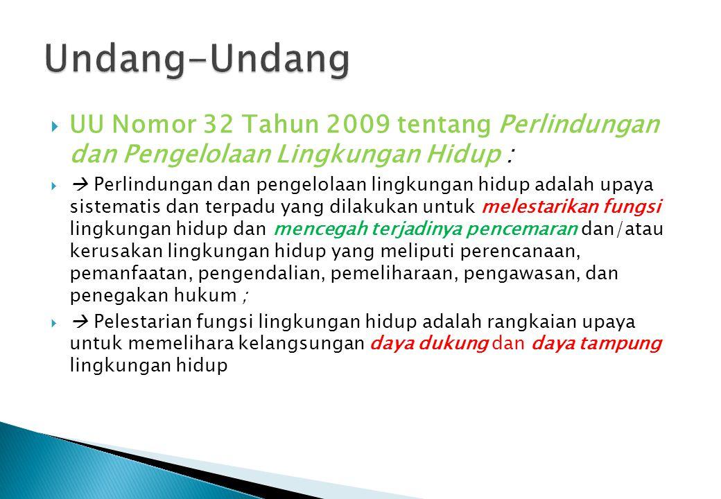 Undang-Undang UU Nomor 32 Tahun 2009 tentang Perlindungan dan Pengelolaan Lingkungan Hidup :