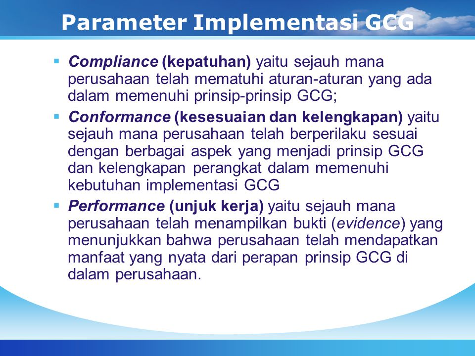 Parameter Implementasi GCG