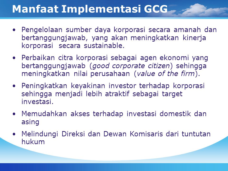 Manfaat Implementasi GCG