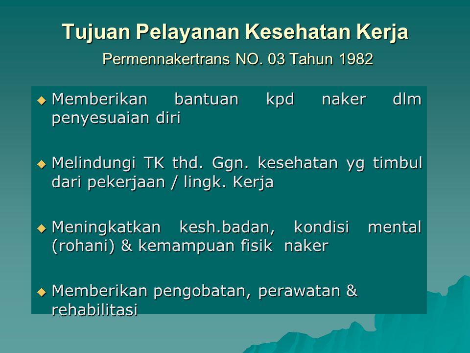 Tujuan Pelayanan Kesehatan Kerja Permennakertrans NO. 03 Tahun 1982