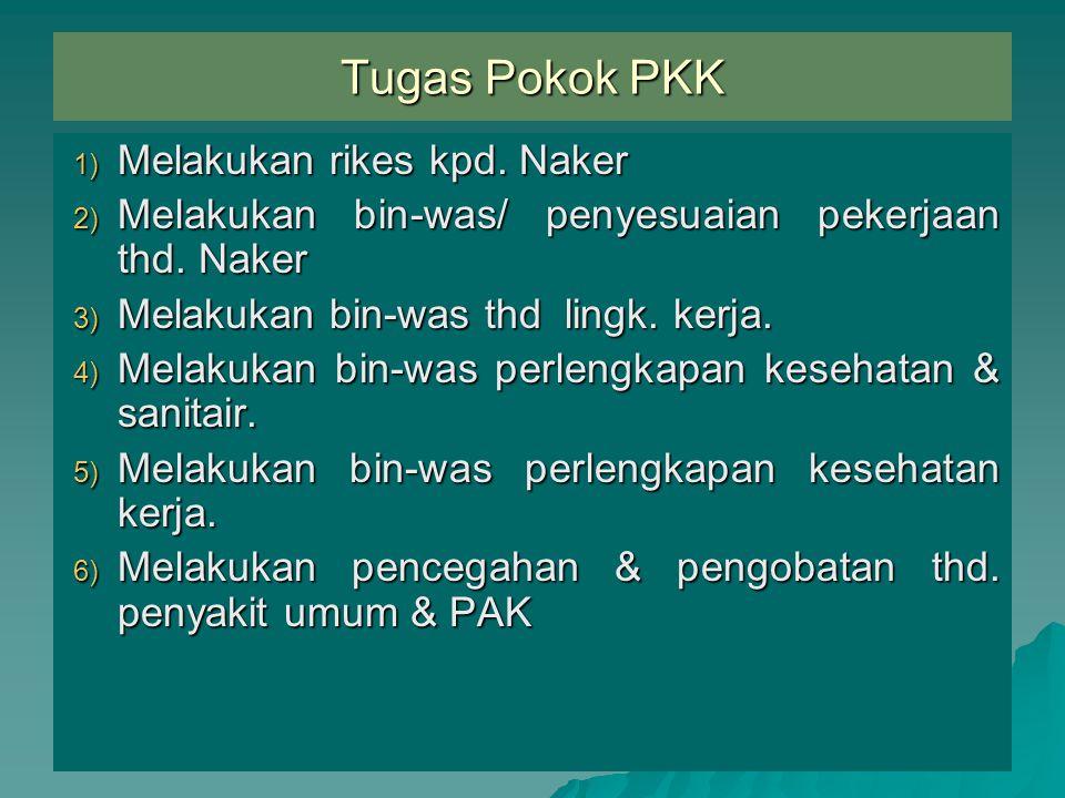 Tugas Pokok PKK Melakukan rikes kpd. Naker
