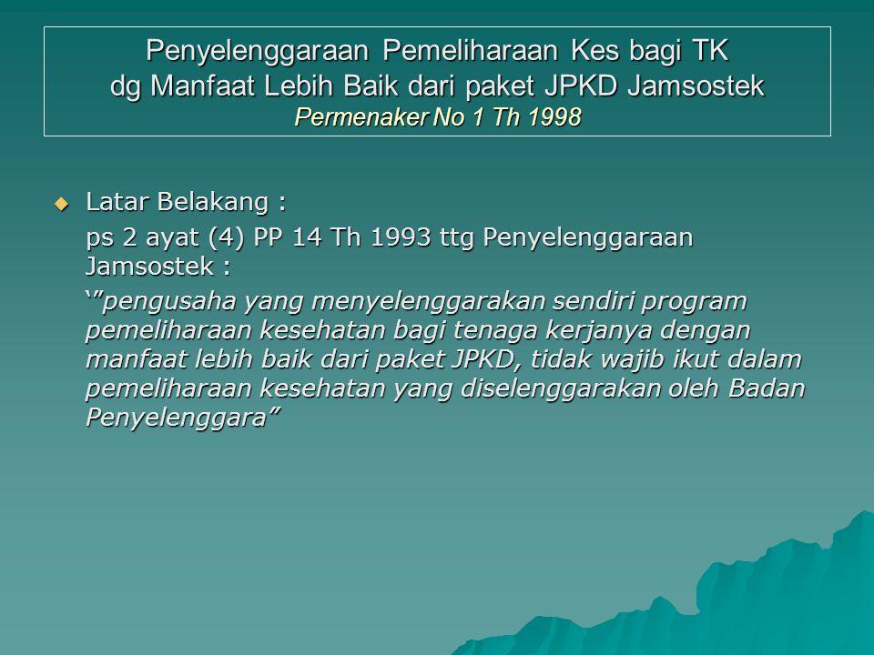Penyelenggaraan Pemeliharaan Kes bagi TK dg Manfaat Lebih Baik dari paket JPKD Jamsostek Permenaker No 1 Th 1998