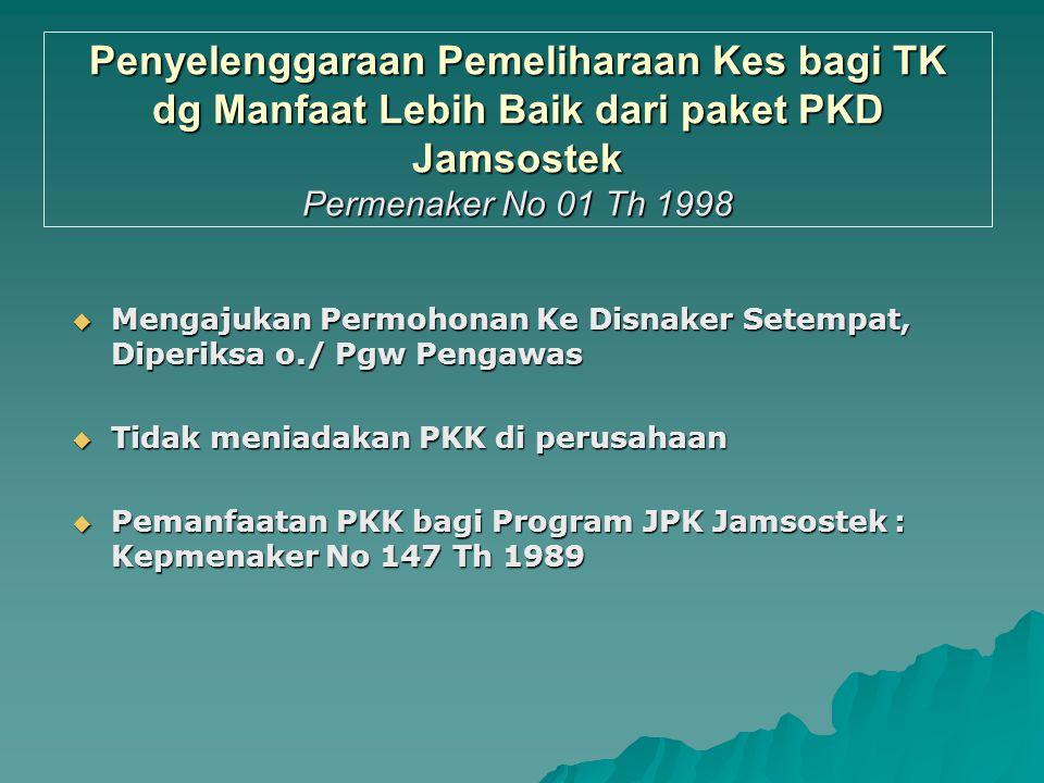 Penyelenggaraan Pemeliharaan Kes bagi TK dg Manfaat Lebih Baik dari paket PKD Jamsostek Permenaker No 01 Th 1998