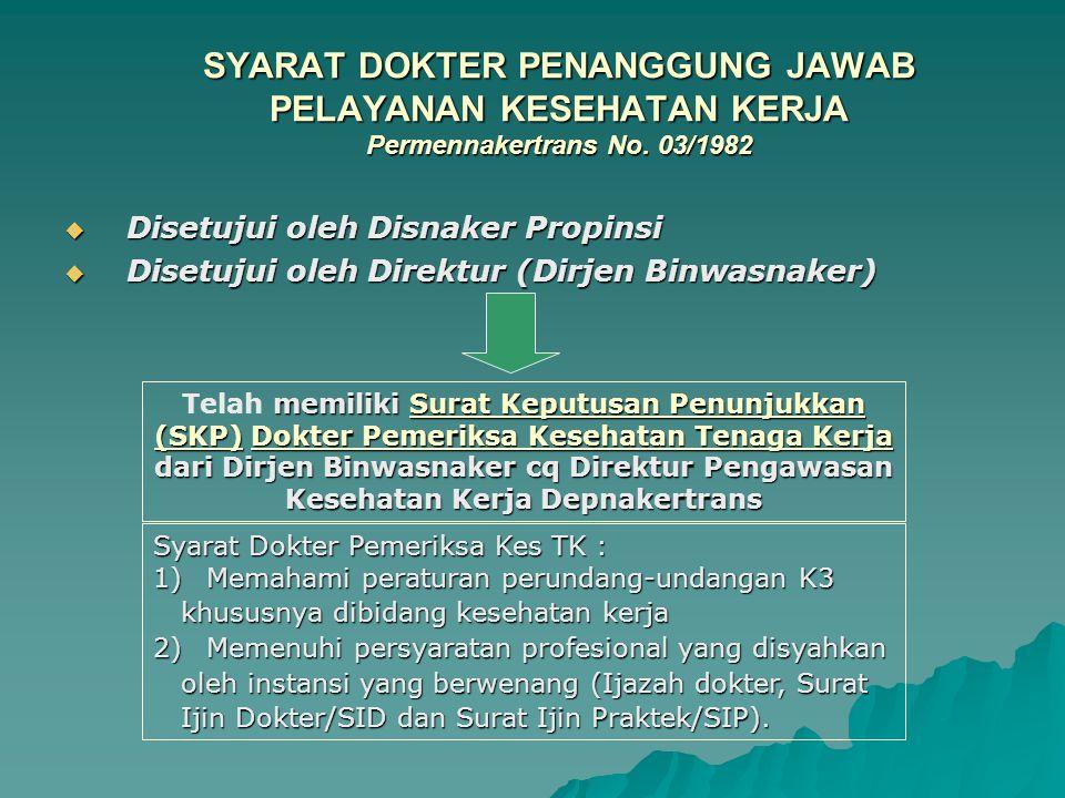 SYARAT DOKTER PENANGGUNG JAWAB PELAYANAN KESEHATAN KERJA Permennakertrans No. 03/1982