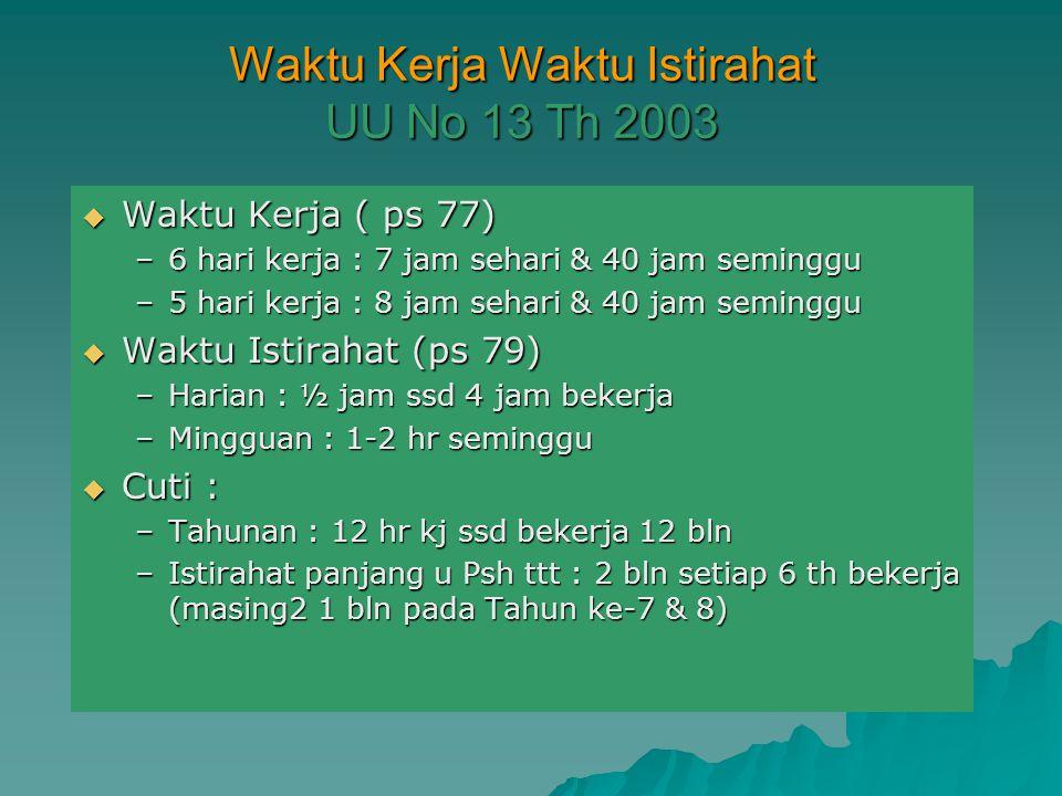 Waktu Kerja Waktu Istirahat UU No 13 Th 2003