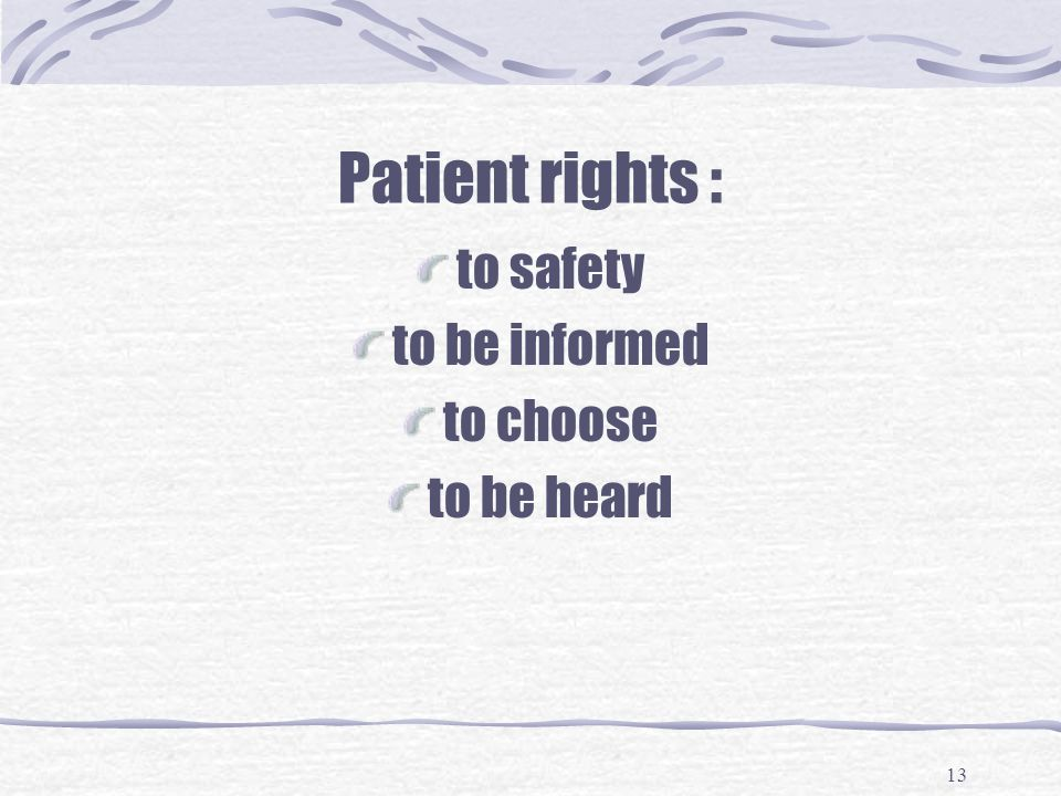 Patient rights : to safety to be informed to choose to be heard
