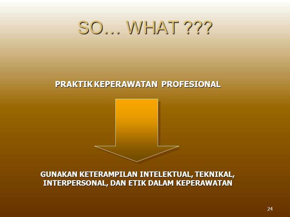 SO… WHAT PRAKTIK KEPERAWATAN PROFESIONAL