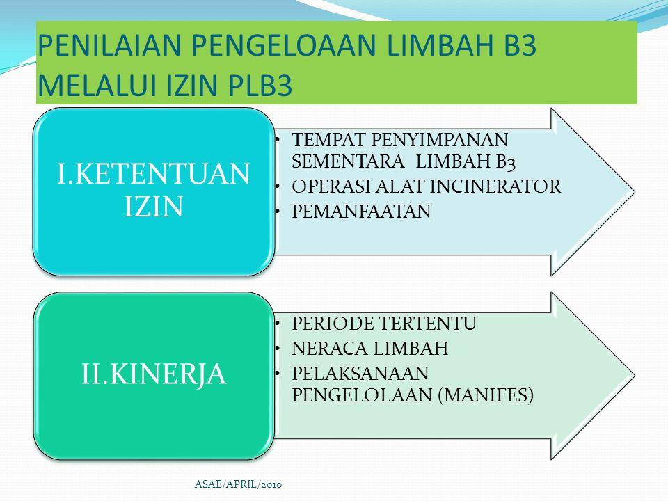 PENILAIAN PENGELOAAN LIMBAH B3 MELALUI IZIN PLB3