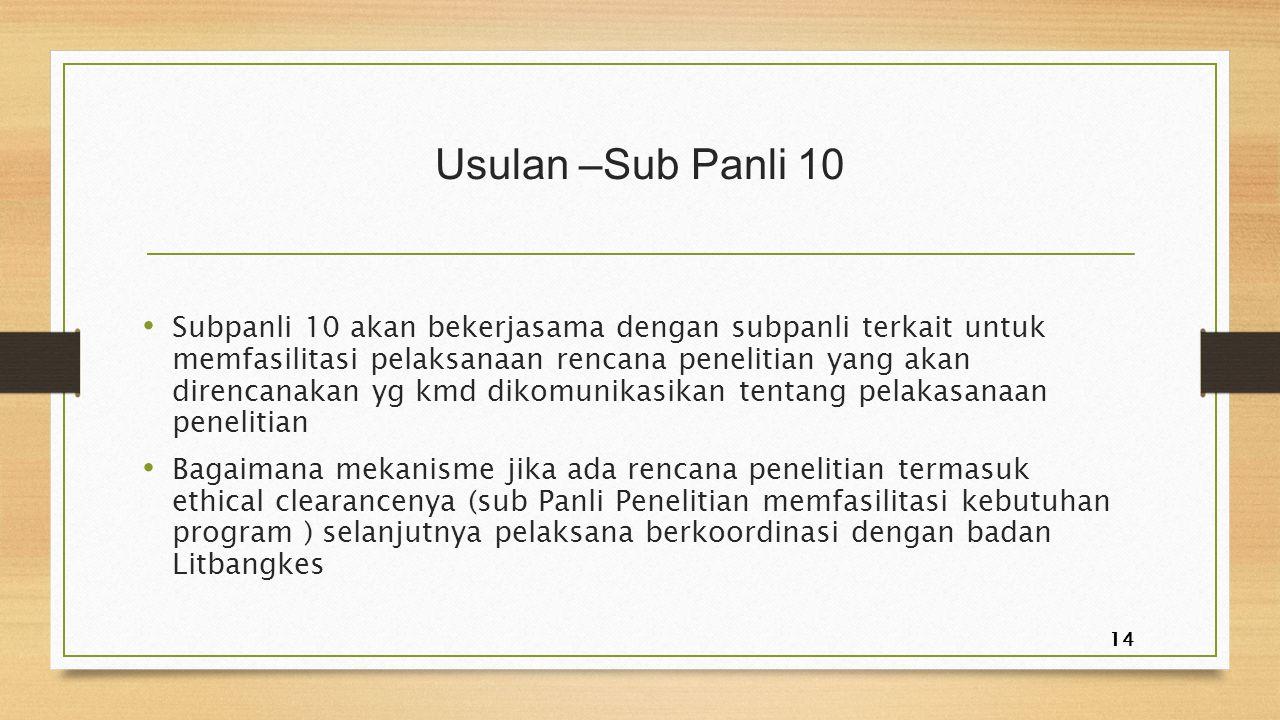 Usulan –Sub Panli 10