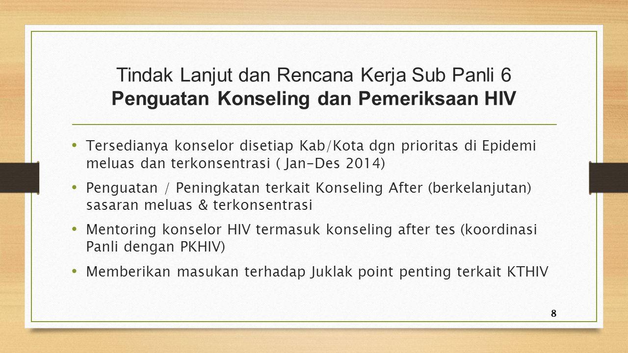 Tindak Lanjut dan Rencana Kerja Sub Panli 6 Penguatan Konseling dan Pemeriksaan HIV