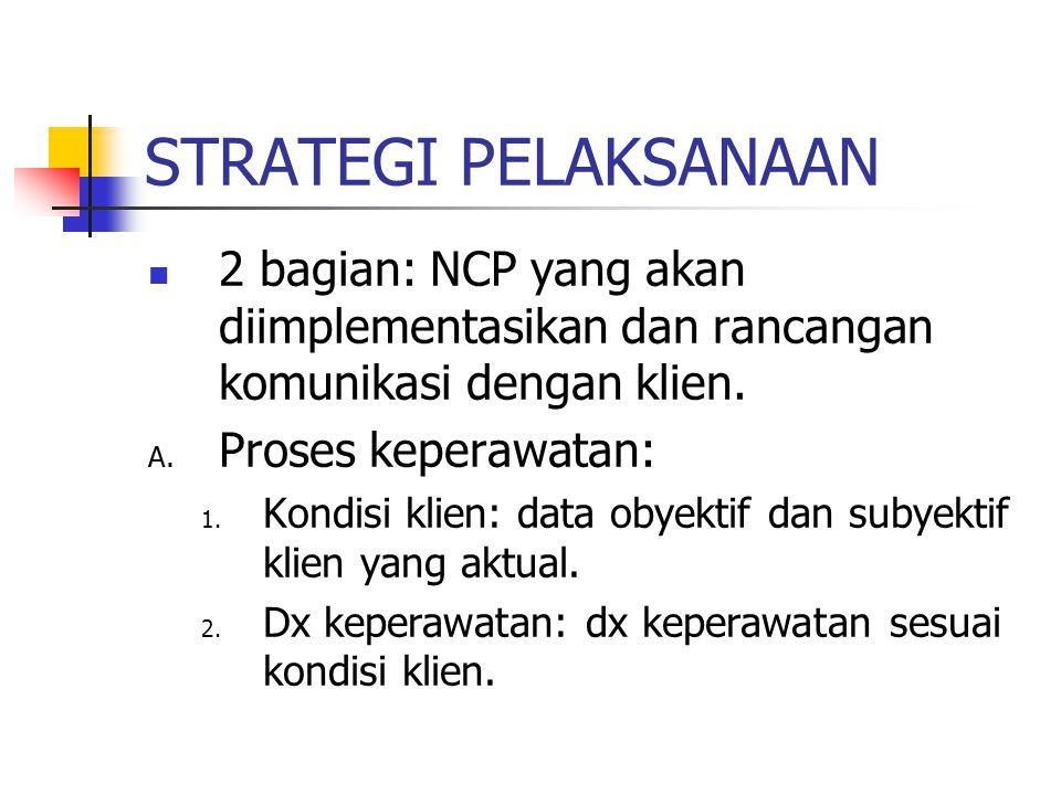 STRATEGI PELAKSANAAN 2 bagian: NCP yang akan diimplementasikan dan rancangan komunikasi dengan klien.