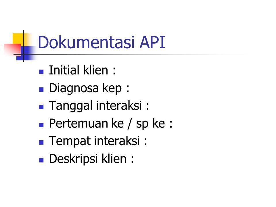 Dokumentasi API Initial klien : Diagnosa kep : Tanggal interaksi :
