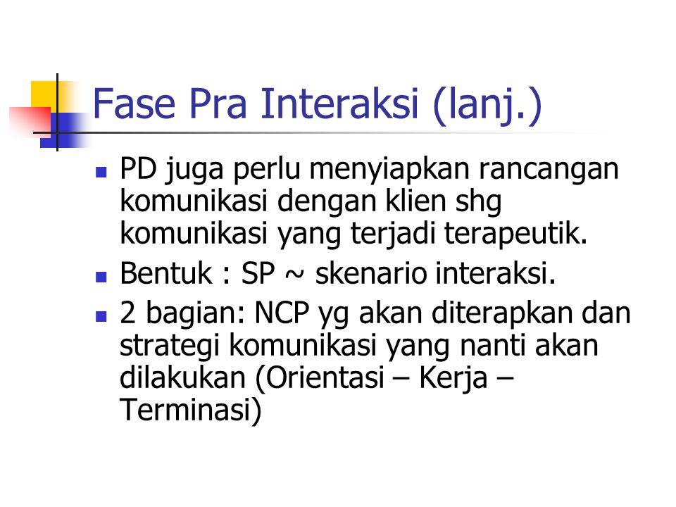 Fase Pra Interaksi (lanj.)