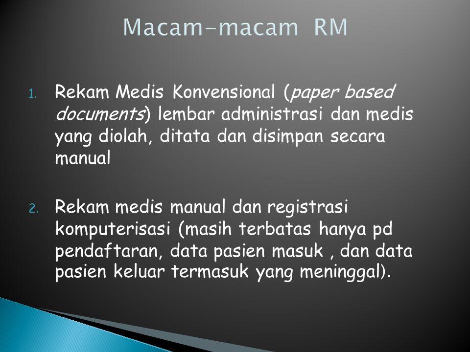 Macam-macam RM Rekam Medis Konvensional (paper based documents) lembar administrasi dan medis yang diolah, ditata dan disimpan secara manual.